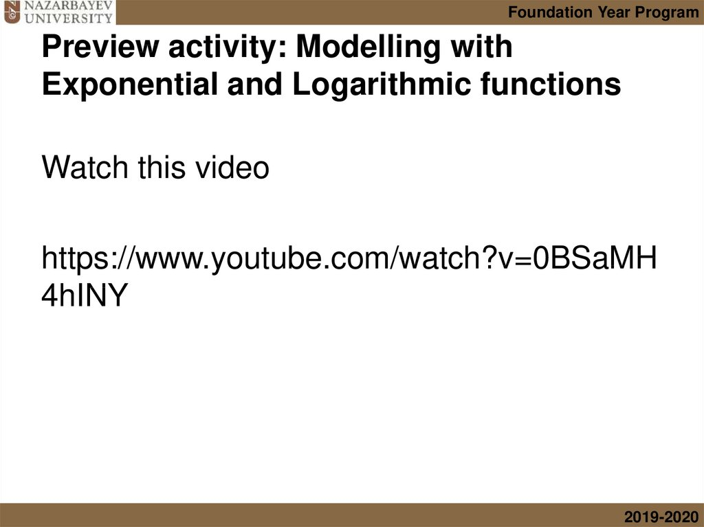 Preview activity: Modelling with Exponential and Logarithmic functions