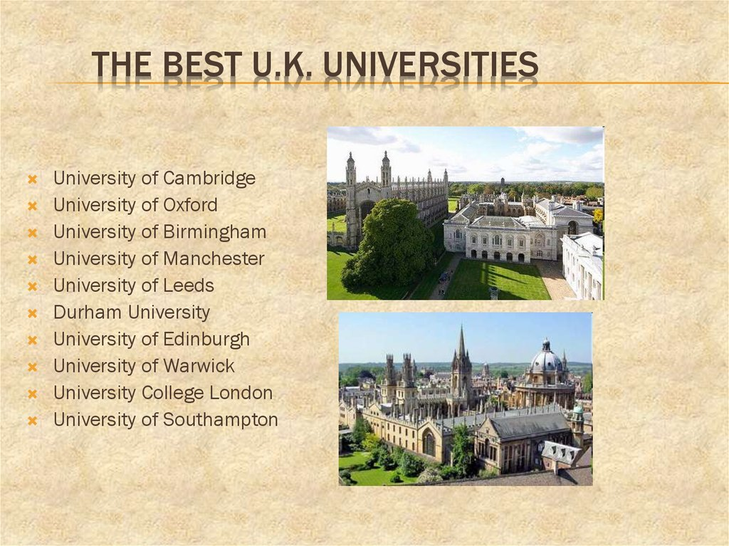 The Best U.K. Universities