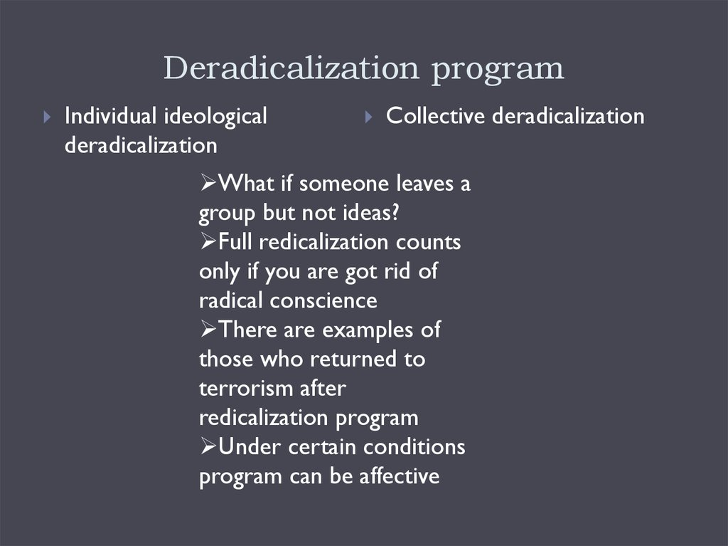 Deradicalization program