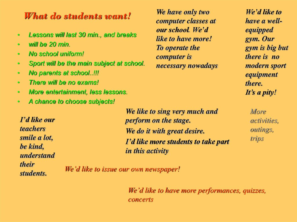 What do students want!