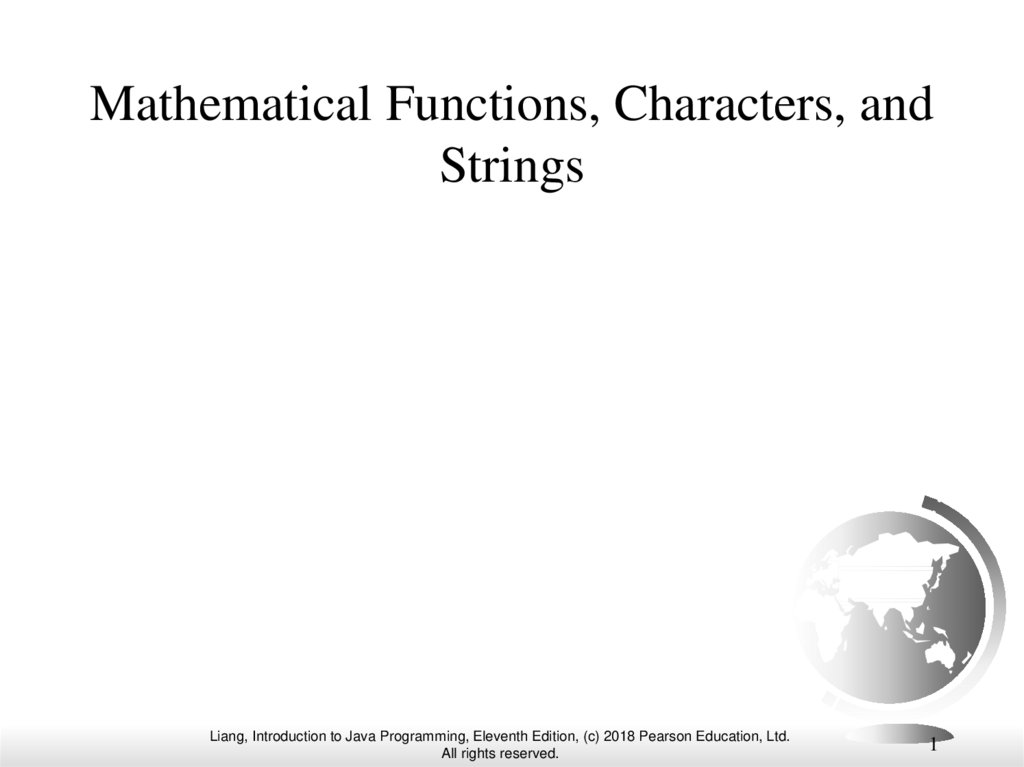 Mathematical Functions, Characters, and Strings
