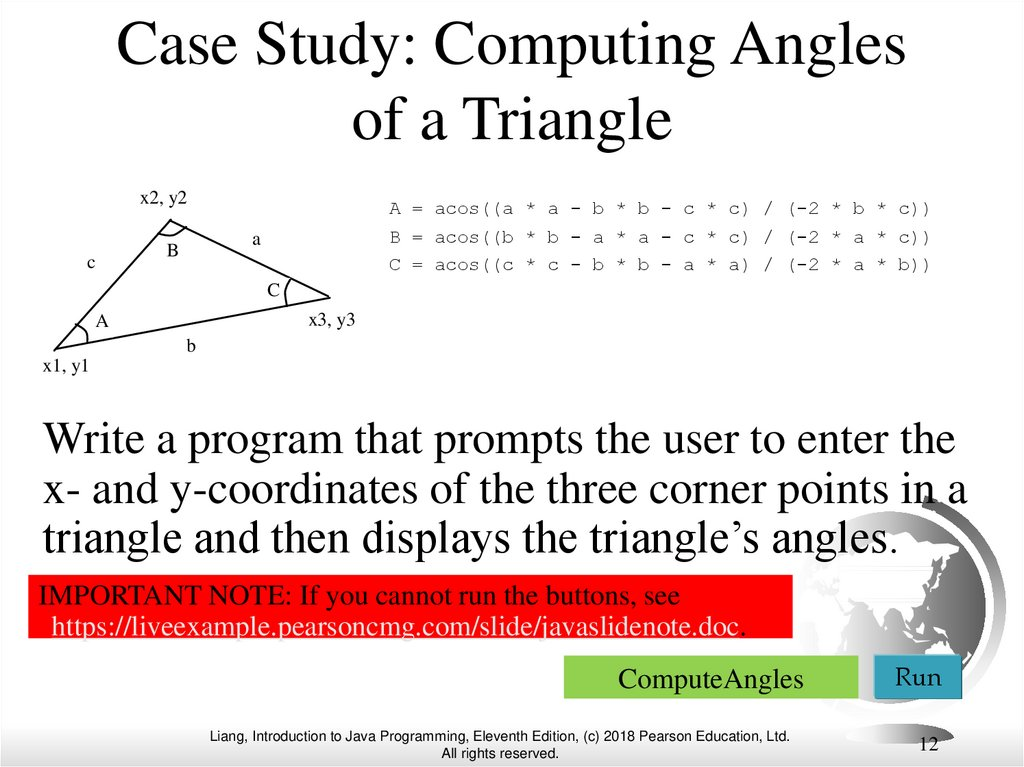 Case Study: Computing Angles of a Triangle