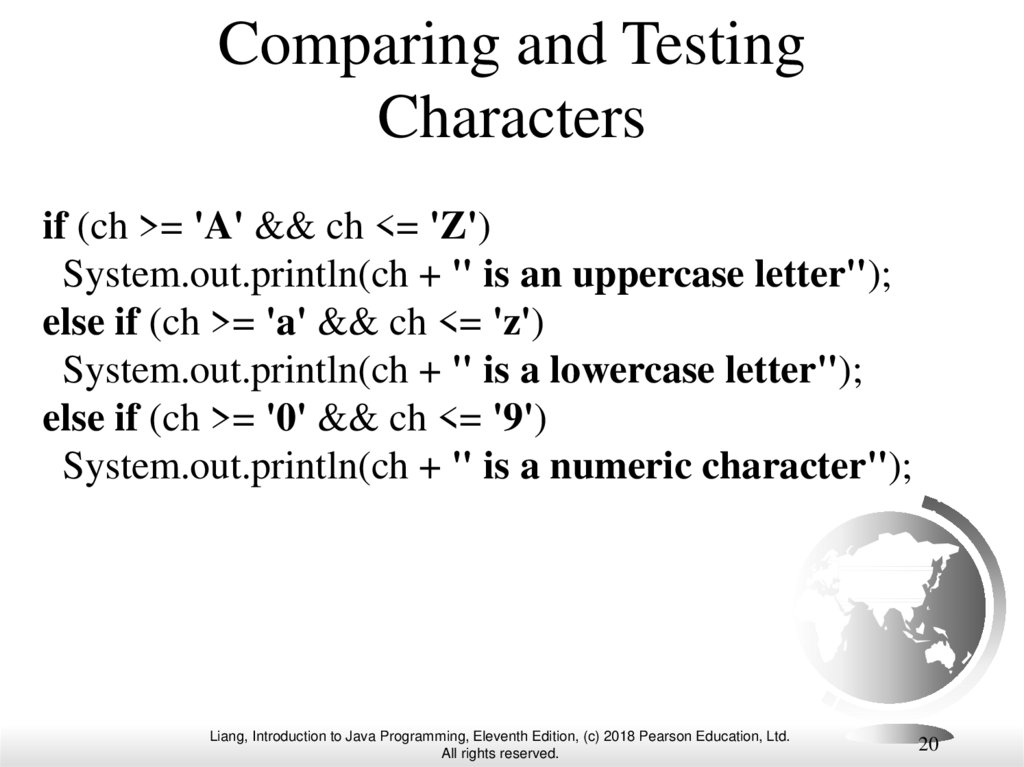 Comparing and Testing Characters
