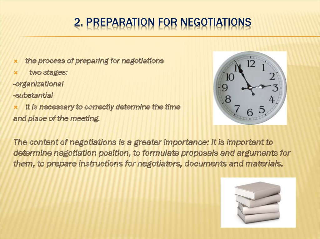 2. Preparation for negotiations