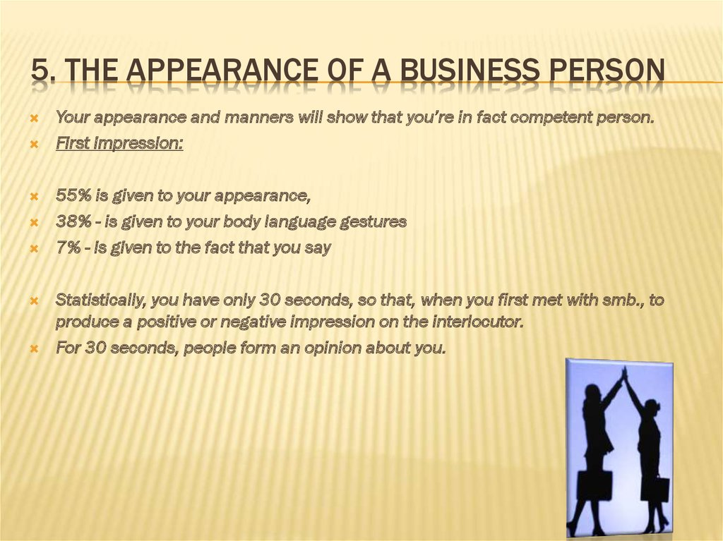 5. The appearance of a business person