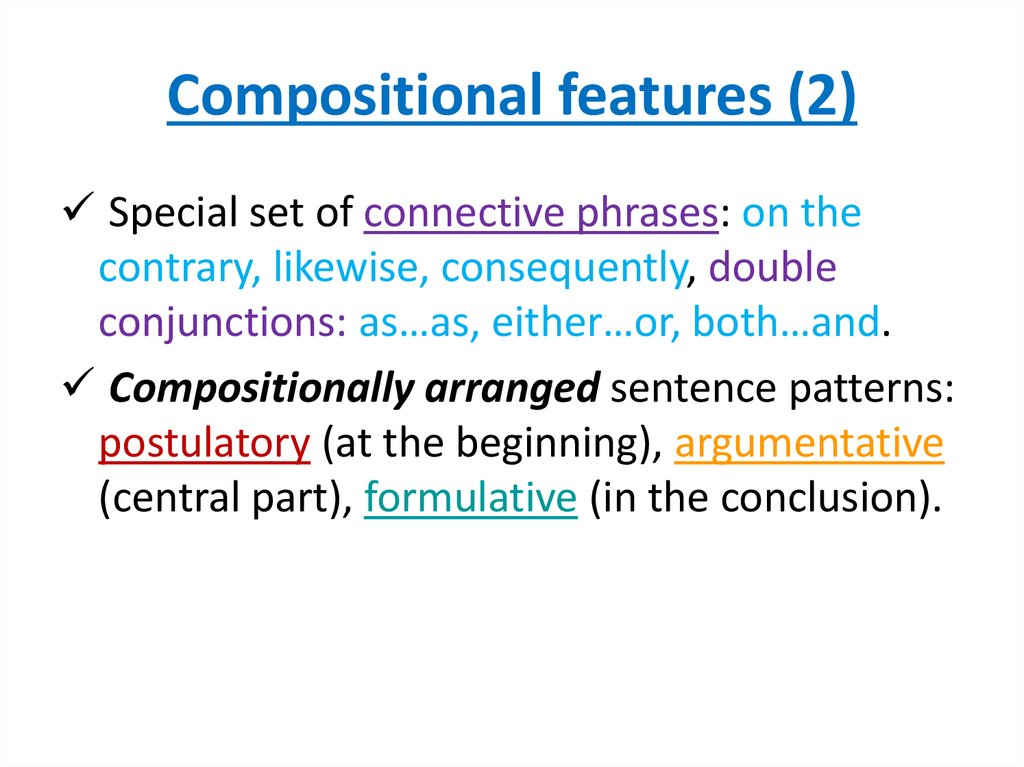 Compositional features (2)