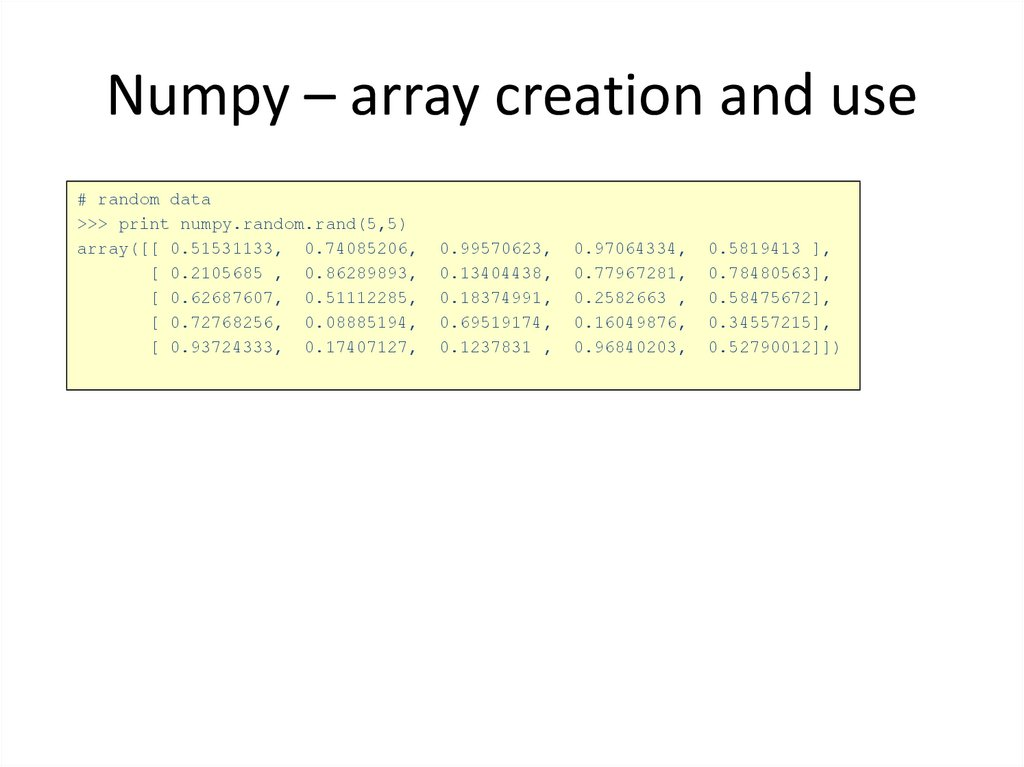 Numpy – array creation and use
