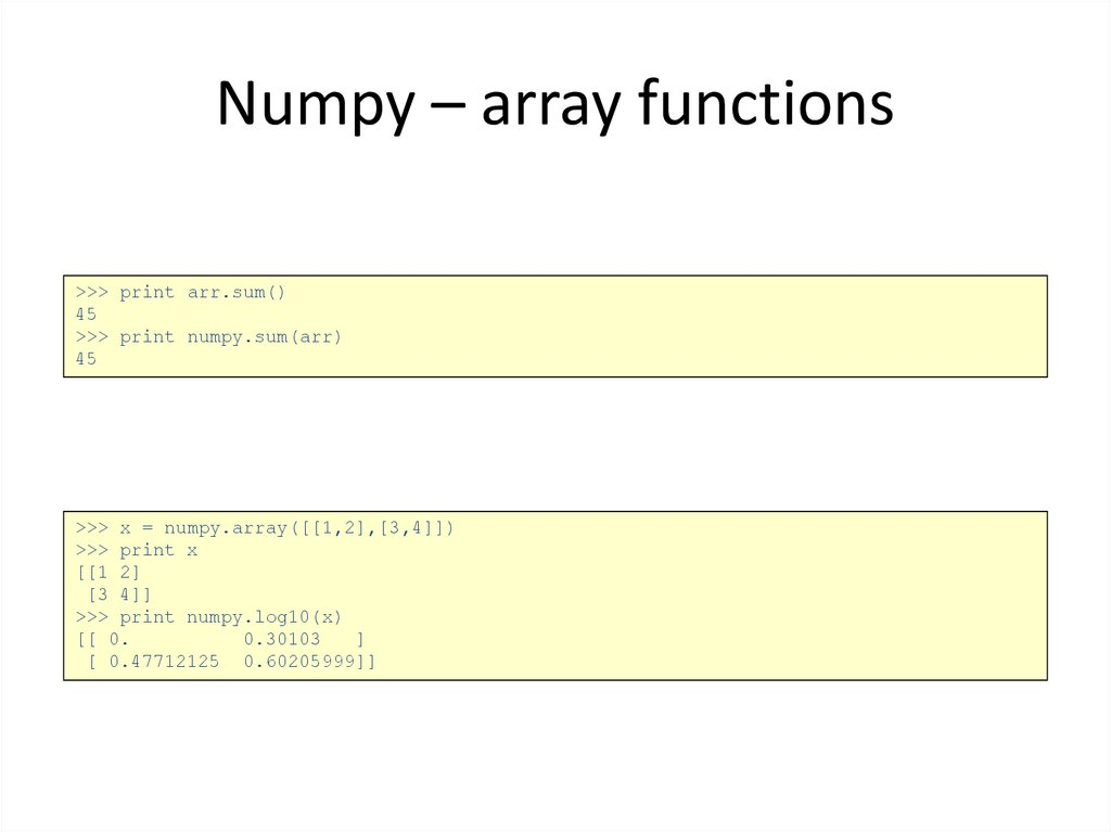 Numpy – array functions