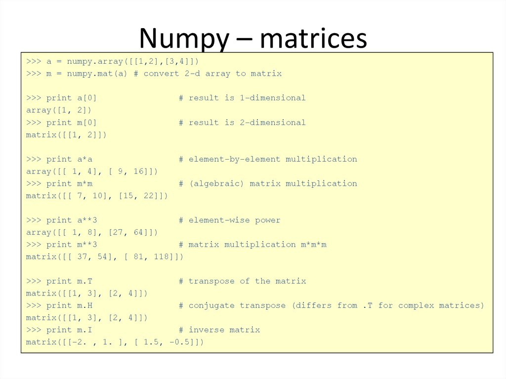 Numpy – matrices