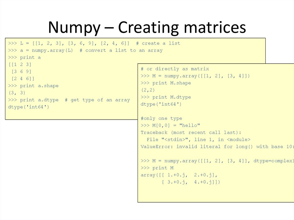 Numpy – Creating matrices