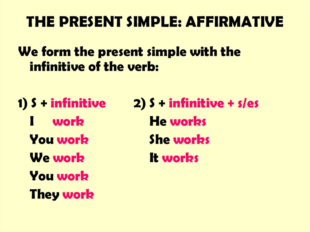 THE PRESENT SIMPLE: AFFIRMATIVE
