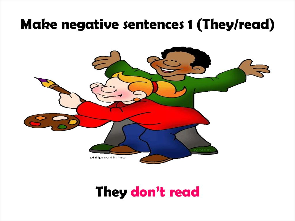 Make negative sentences 1 (They/read)