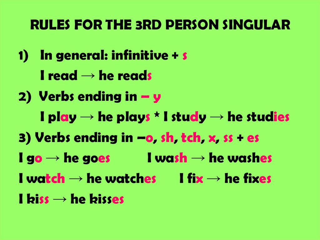 RULES FOR THE 3RD PERSON SINGULAR