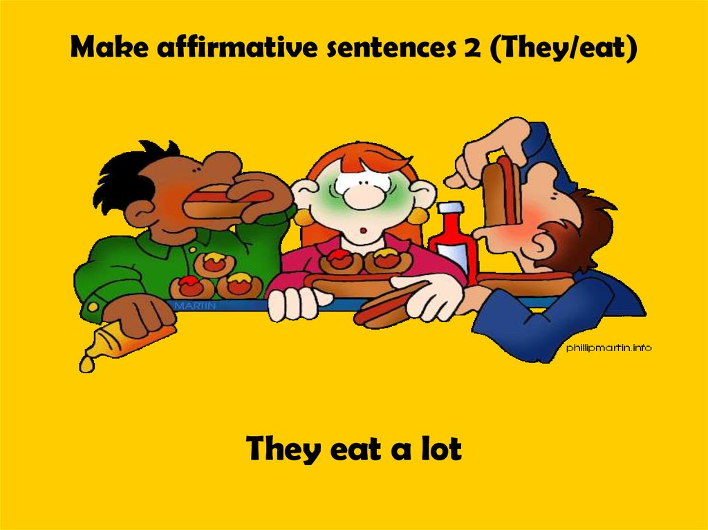 Make affirmative sentences 2 (They/eat)