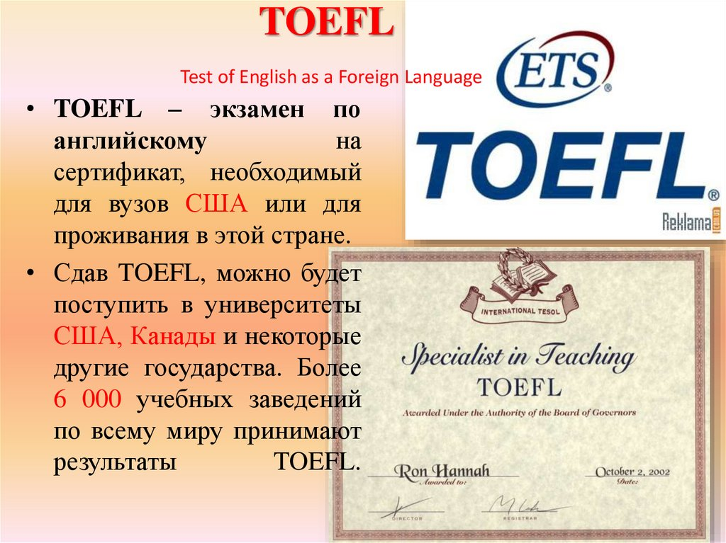 TOEFL Test of English as a Foreign Language