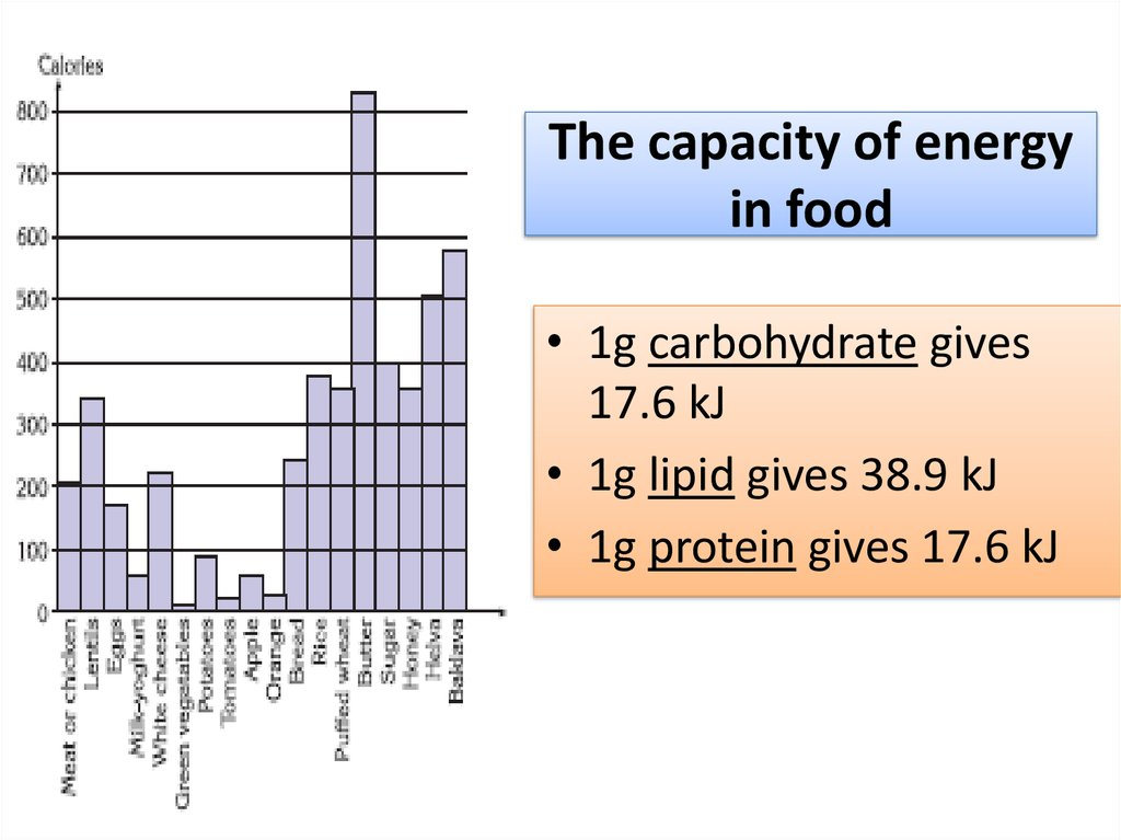 The capacity of energy in food