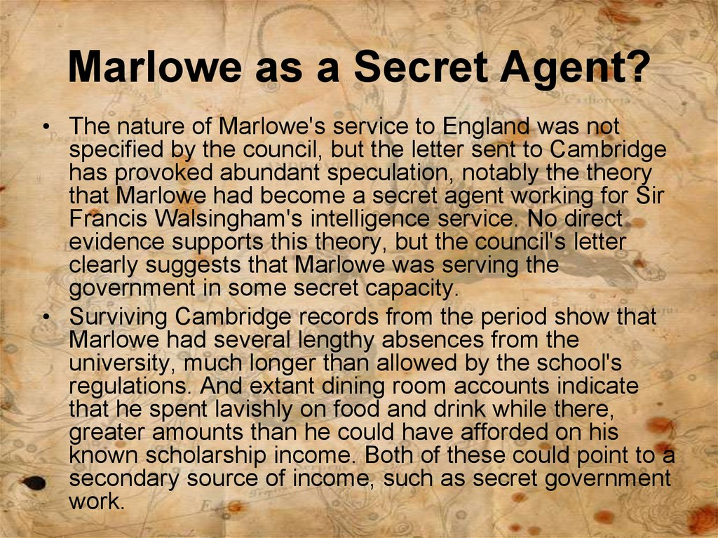 Marlowe as a Secret Agent?