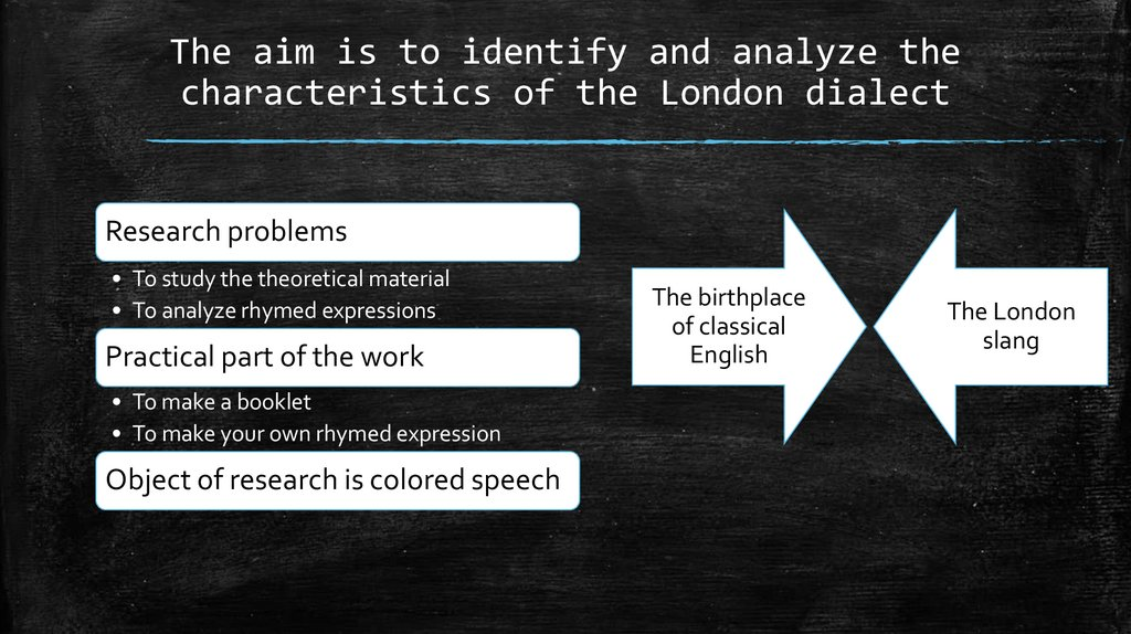 The aim is to identify and analyze the characteristics of the London dialect