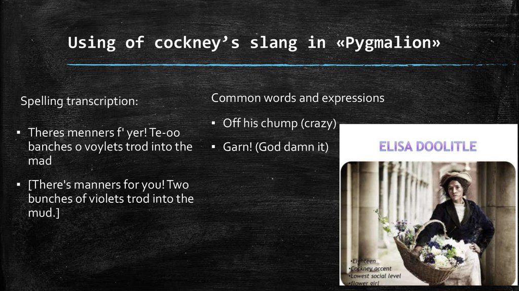 Using of cockney's slang in «Pygmalion»