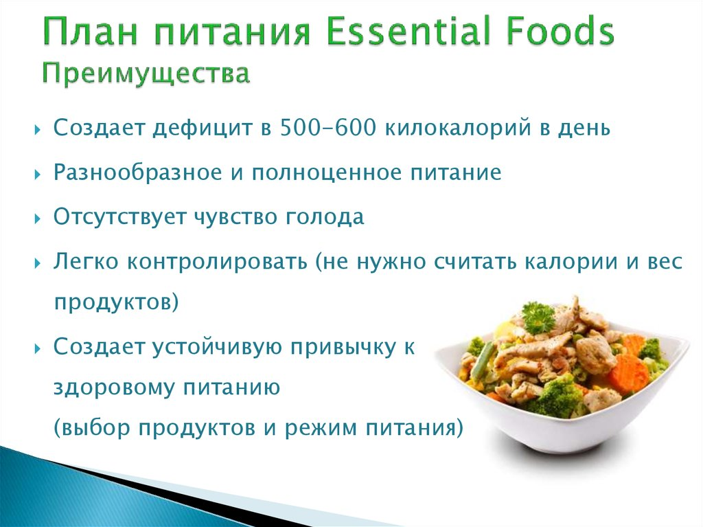 План питания Essential Foods Преимущества
