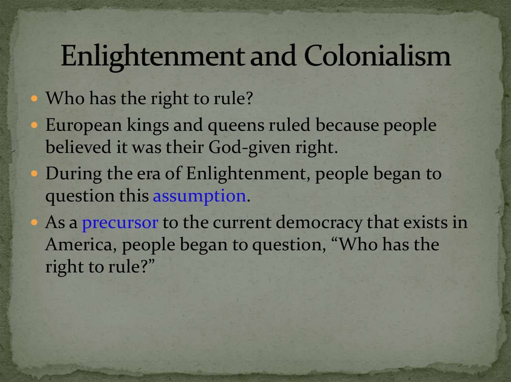 Enlightenment and Colonialism