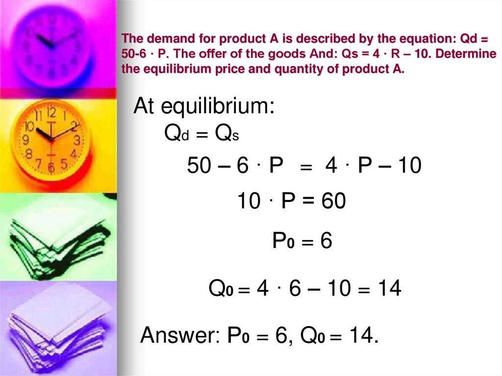 The demand for product A is described by the equation: Qd = 50-6 · P. The offer of the goods And: Qs = 4 · R – 10. Determine