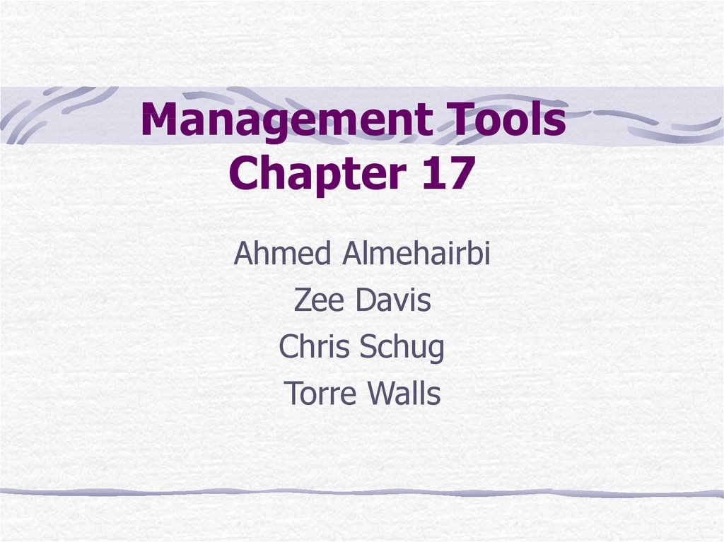 Management Tools Chapter 17