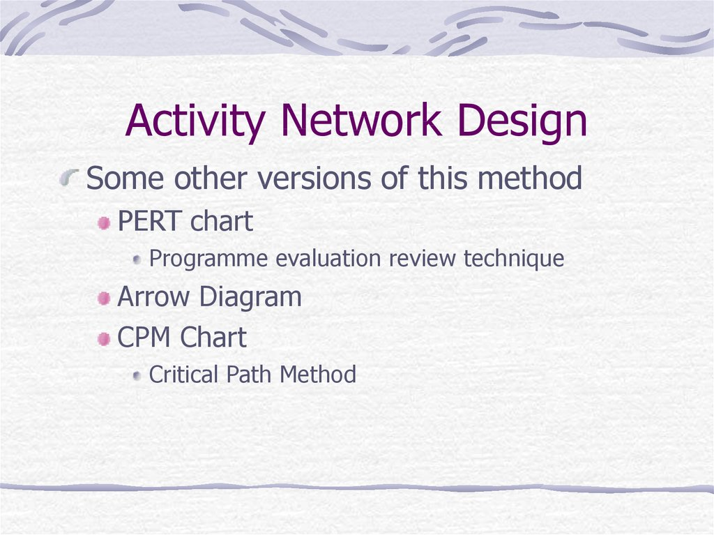 Activity Network Design