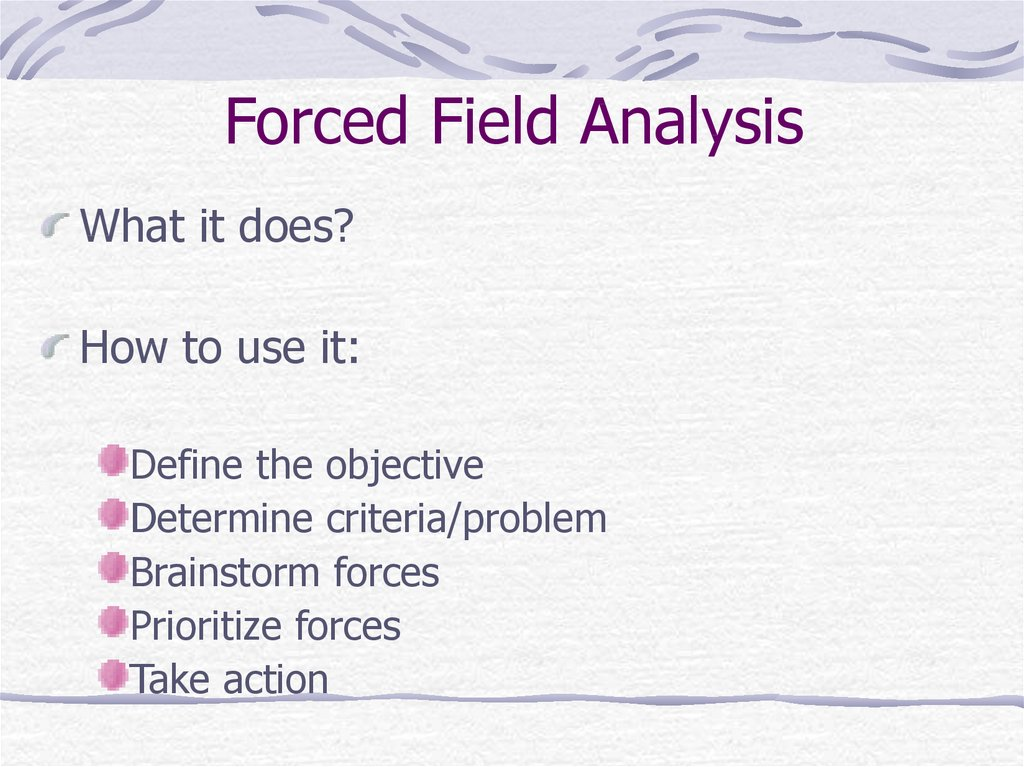 Forced Field Analysis