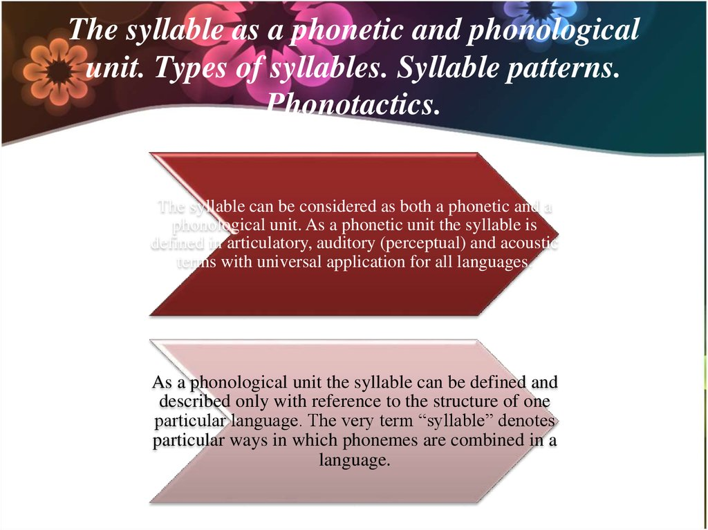 The syllable as a phonetic and phonological unit. Types of syllables. Syllable patterns. Phonotactics.