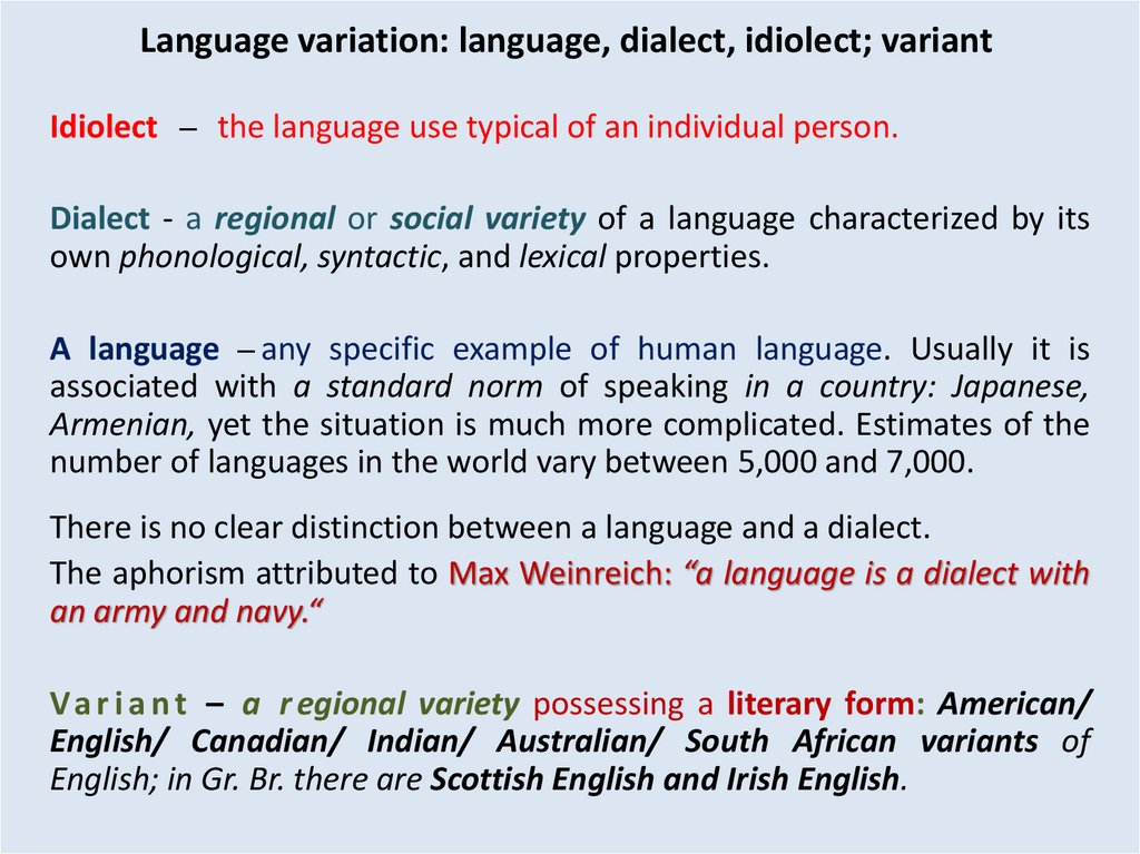 distinction between language and dialect