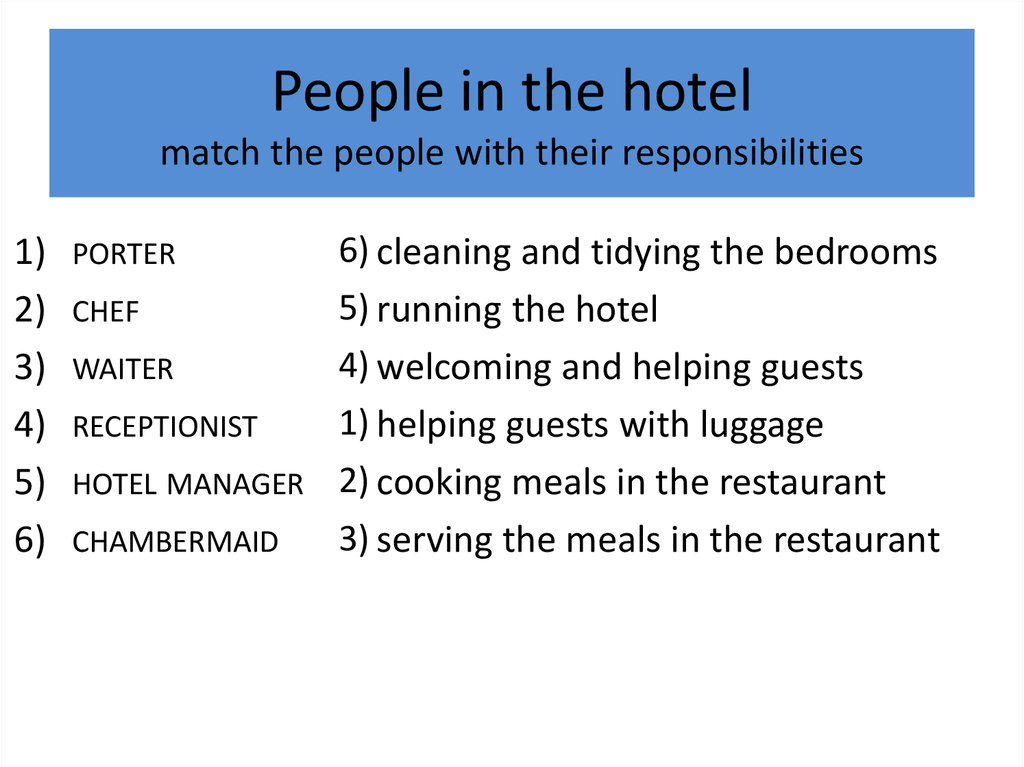 People in the hotel match the people with their responsibilities