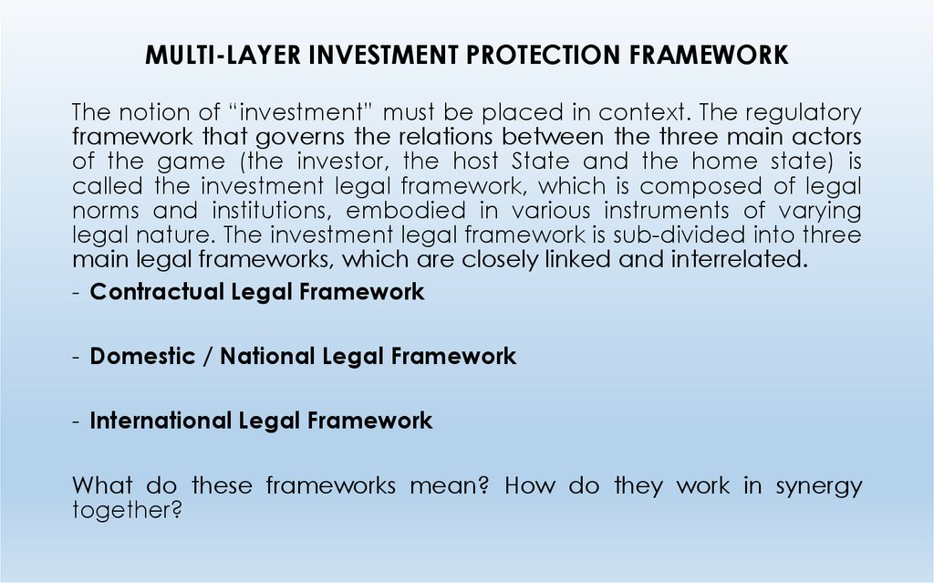 MULTI-LAYER INVESTMENT PROTECTION FRAMEWORK