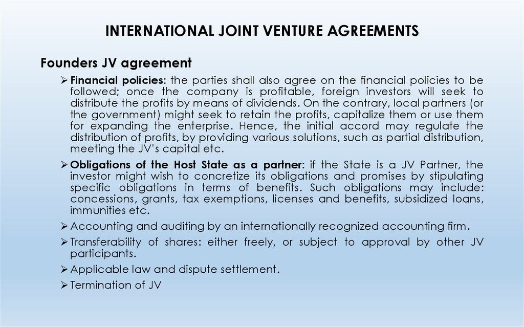 INTERNATIONAL JOINT VENTURE AGREEMENTS