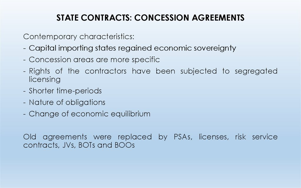 STATE CONTRACTS: CONCESSION AGREEMENTS