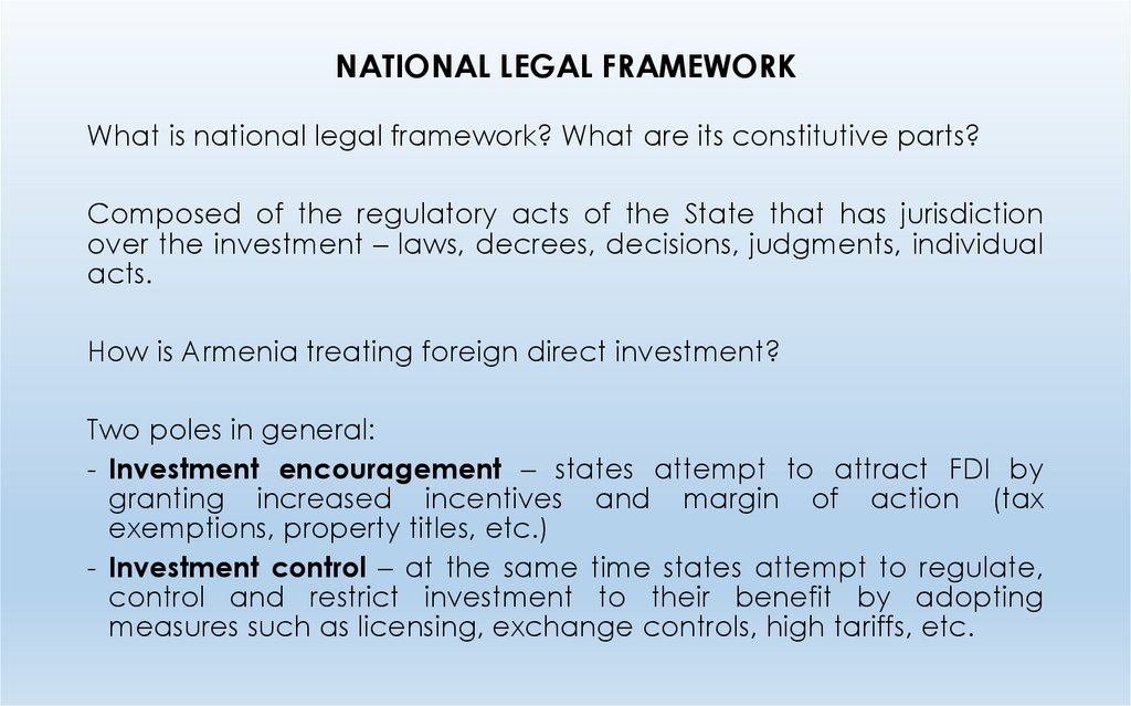 NATIONAL LEGAL FRAMEWORK