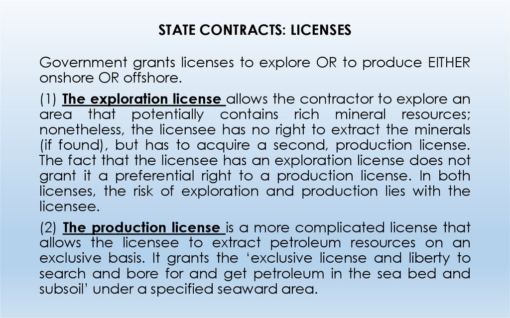 STATE CONTRACTS: LICENSES