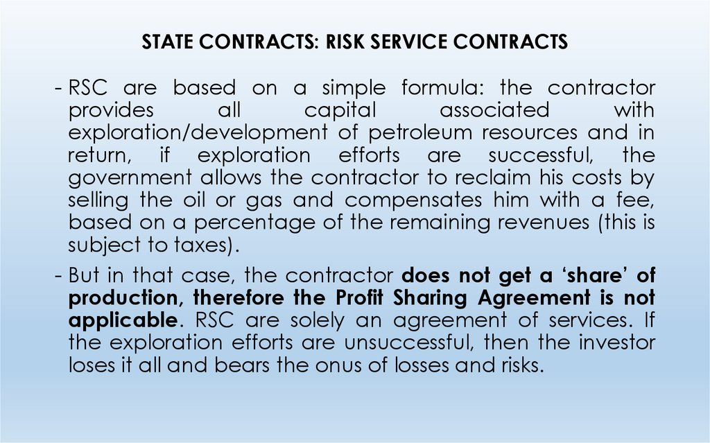 STATE CONTRACTS: RISK SERVICE CONTRACTS