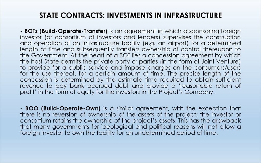 STATE CONTRACTS: INVESTMENTS IN INFRASTRUCTURE