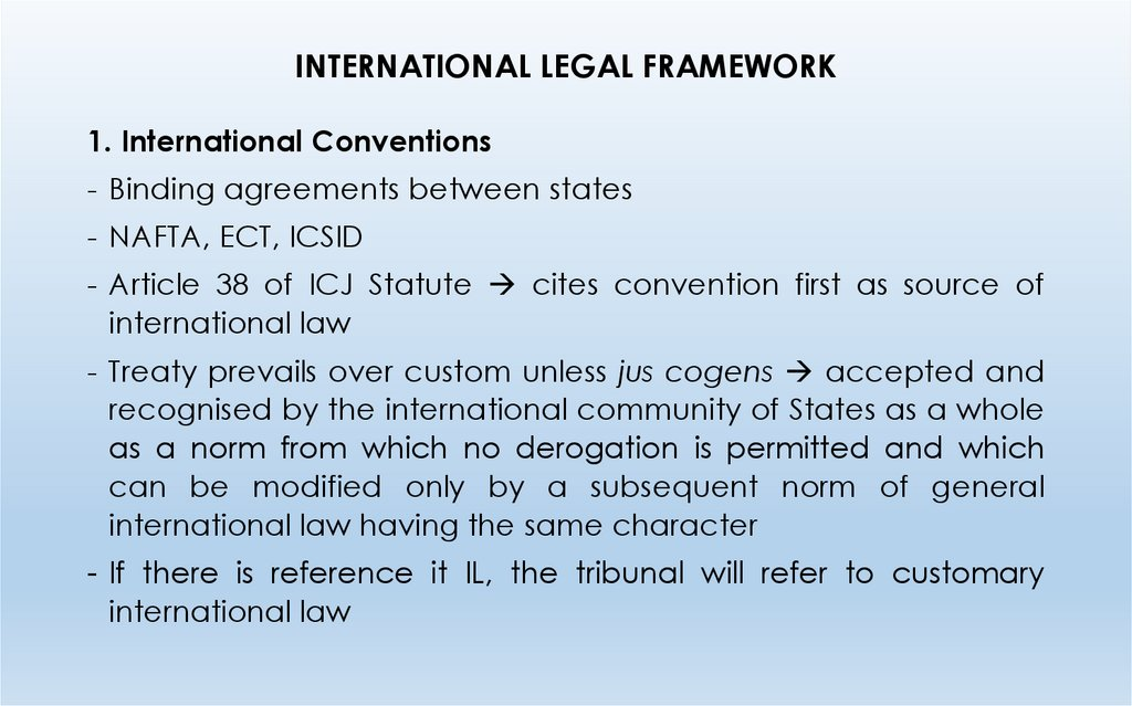 INTERNATIONAL LEGAL FRAMEWORK