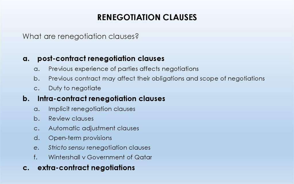 RENEGOTIATION CLAUSES