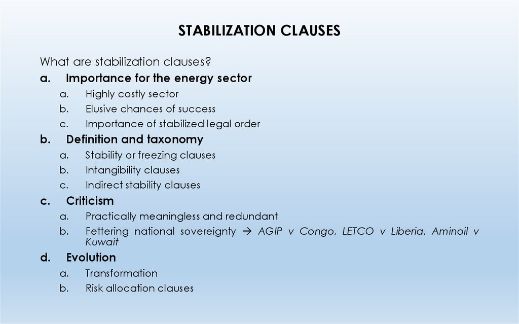 STABILIZATION CLAUSES