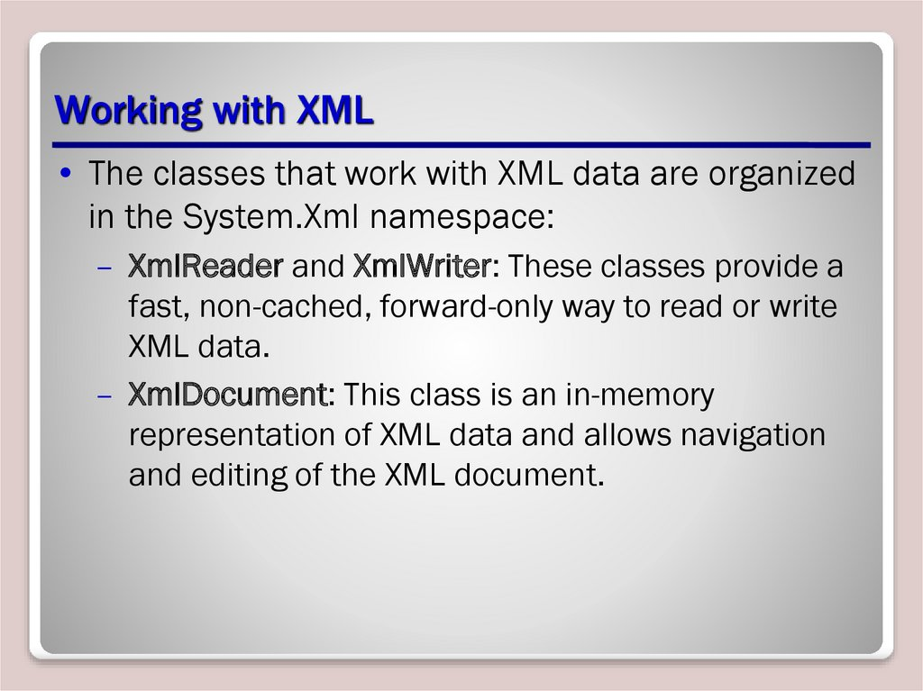 Working with XML