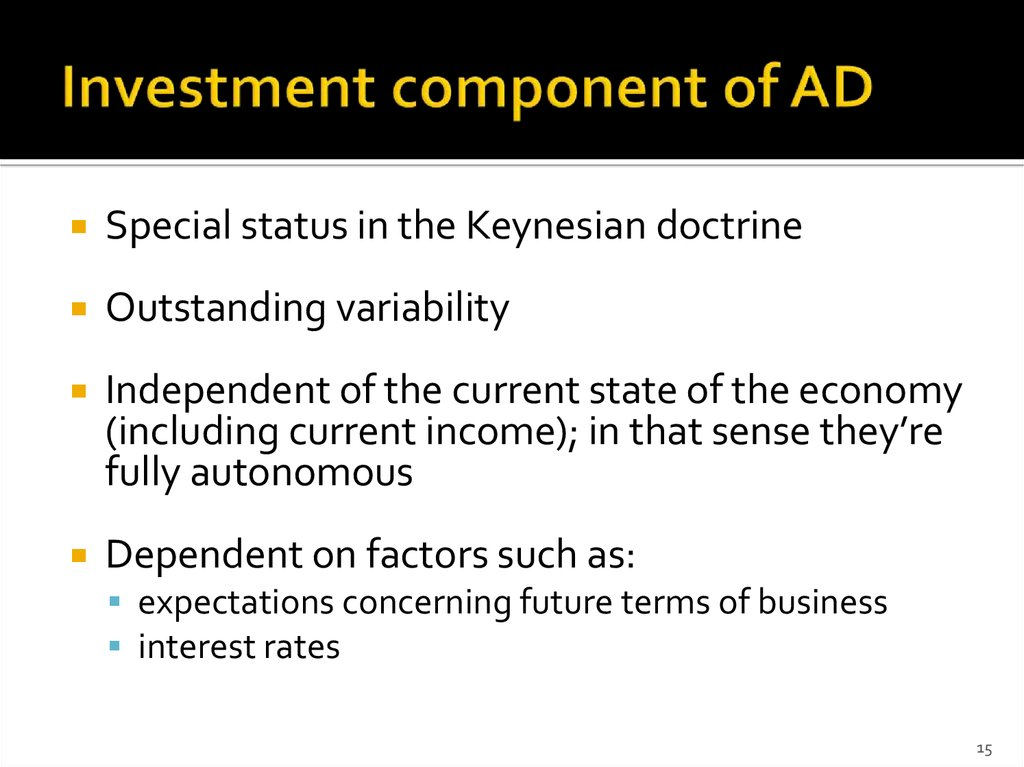 Investment component of AD