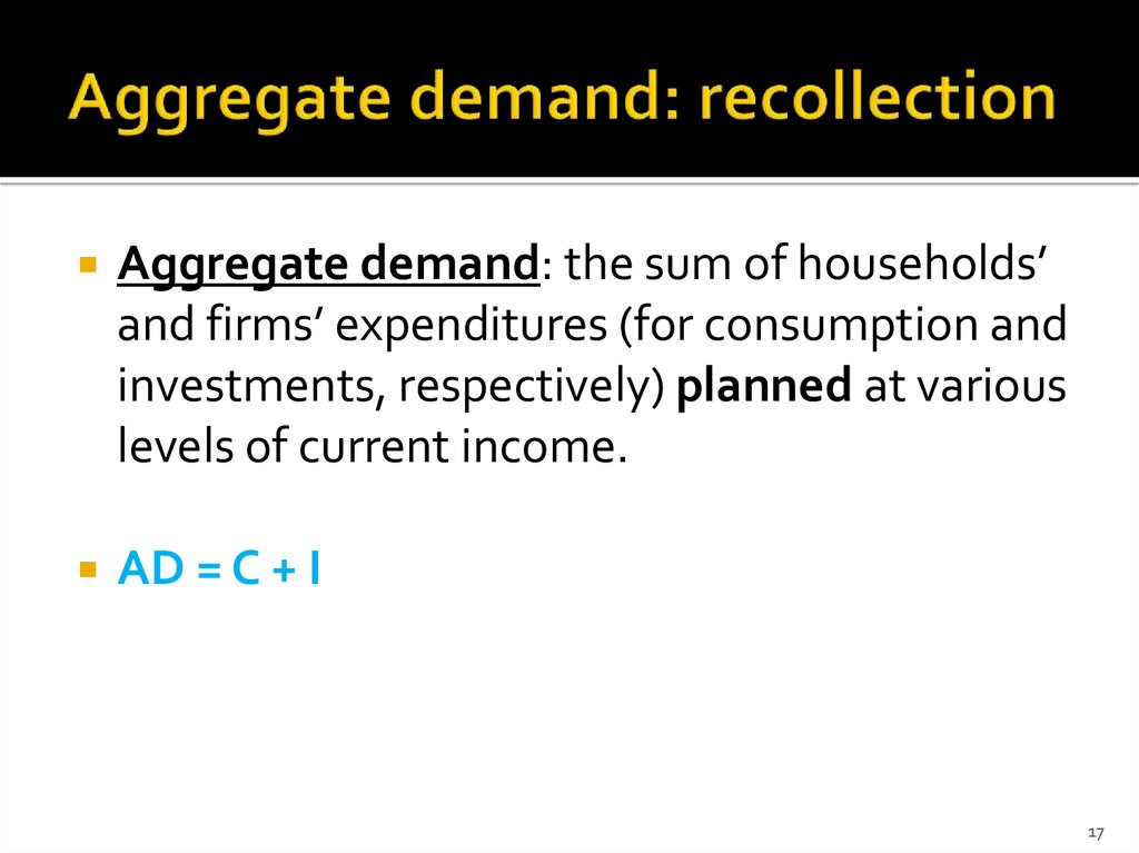 Aggregate demand: recollection