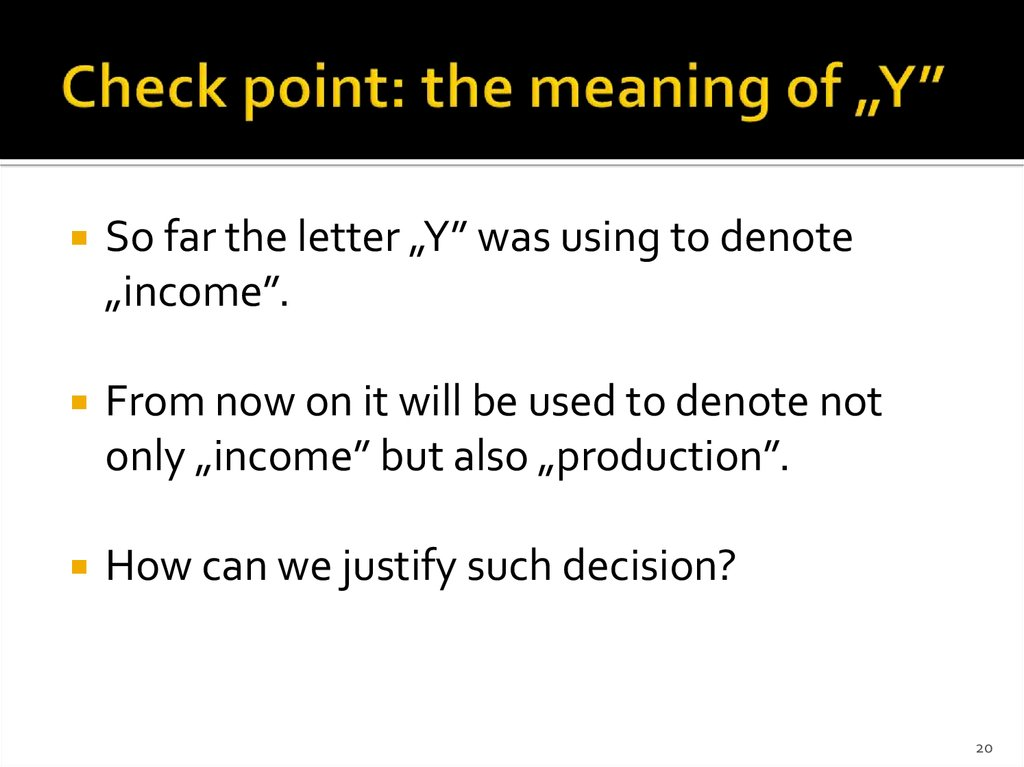 "Check point: the meaning of ""Y"""