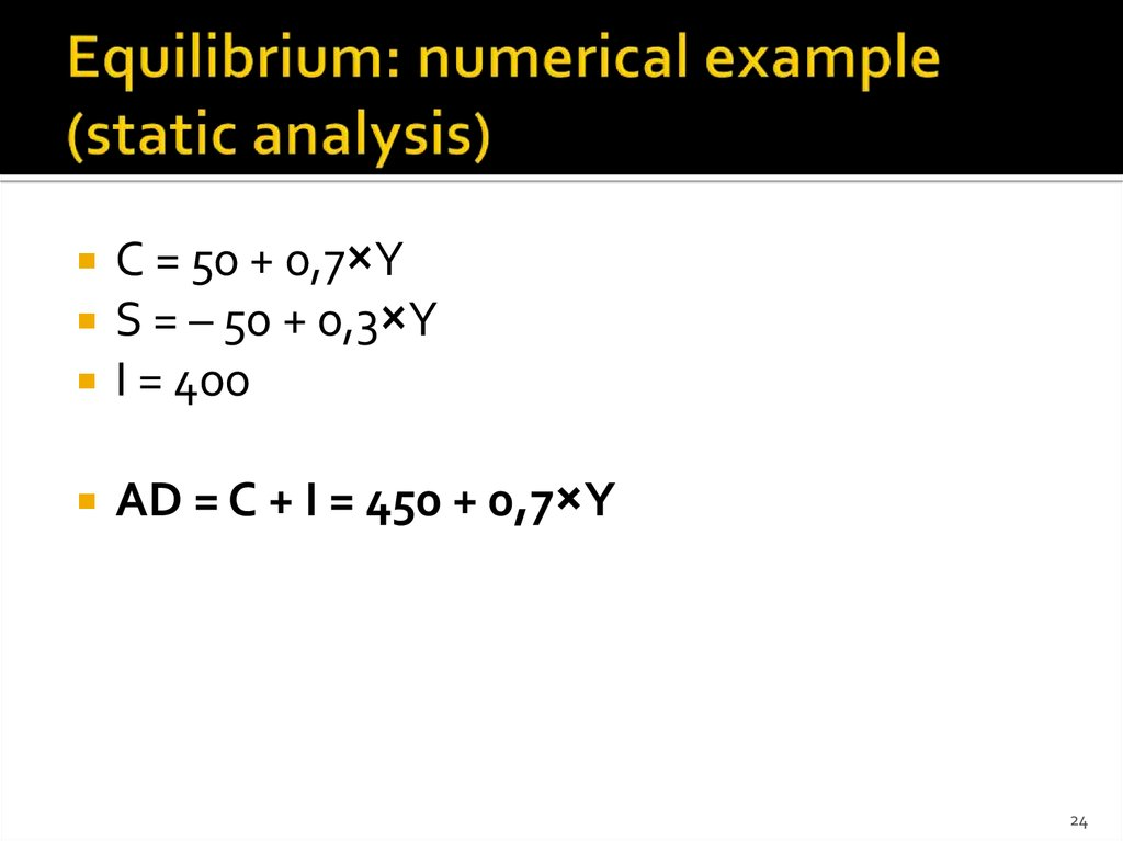 Equilibrium: numerical example (static analysis)