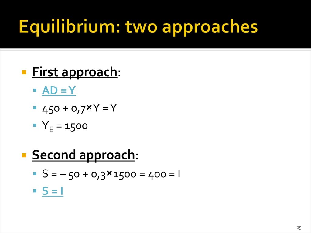 Equilibrium: two approaches