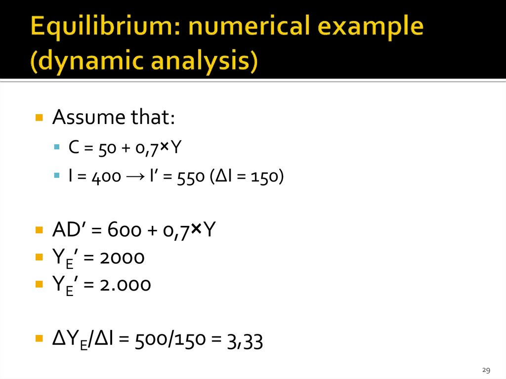 Equilibrium: numerical example (dynamic analysis)