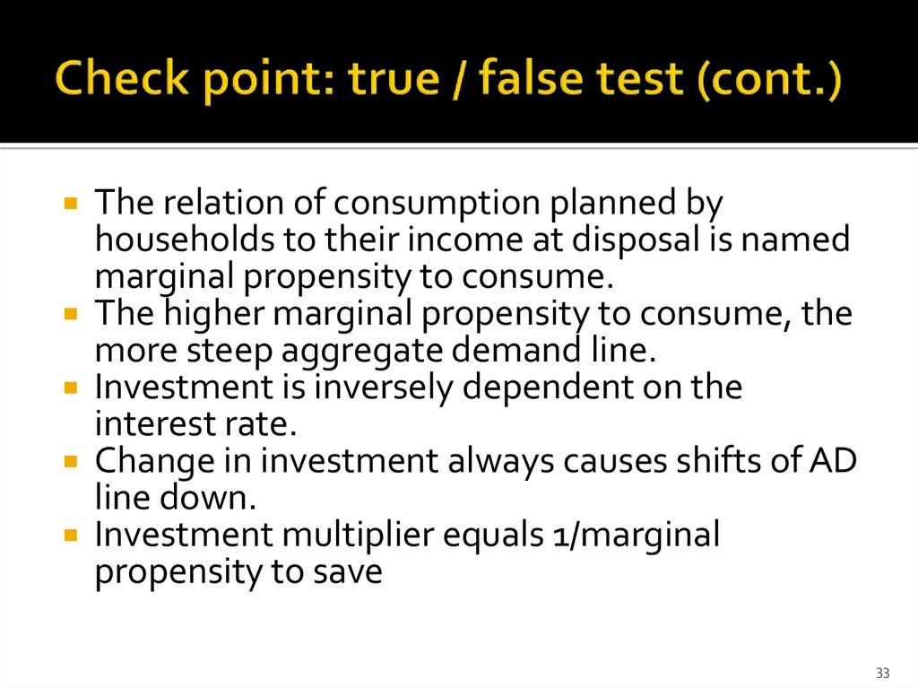 Check point: true / false test (cont.)